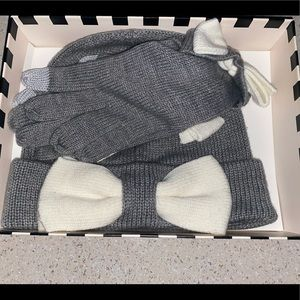 KATE SPADE beanie and glove bow set